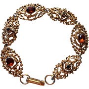Florenza Vintage Bracelet Victorian Revival Amber Glass Ornate Antiqued Gold Finish