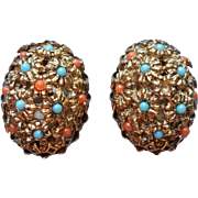 Vintage Earrings Antiqued Gold Color Finish Tiny Faux Coral Faux Turquoise