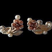 Vintage Rose Gold Filled Earrings Cultured Pearls Krementz Roses