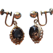 Vintage Smoky Quartz Gold Filled Dangle Earrings 1960s Ronci