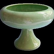 Haeger Big Pedestal Flower Bowl Vase Planter Green Vintage Midcentury