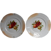 2 Antique German Fruit Plates Apples Luster Glaze