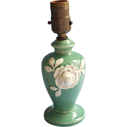 Vintage 1930s Lamp Boudoir Green Pottery White Rose Japan Pottery Butterfly