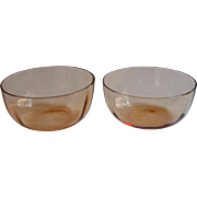 Pair Finger Bowls Henna Colored Glass Vintage 1920s Optic Rib
