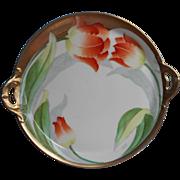1920s Hand Painted China Small Tray Orange Tulips Gold Bavaria