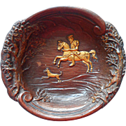 Vintage ca 1930 Gents Trinket Dish Dresser Pressed Wood Product Swordsman Horse Dog