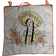 Smoking Woman In Sombrero 1920s Vintage Pillow Cover Hand Embroidered