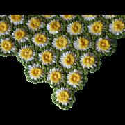 Daisy Loom Afghan Throw Vintage Yarn Field Of Daisies