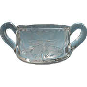 Antique Butterfly Engraved Glass Open Sugar Bowl ca 1900