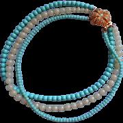 Vintage Aqua Glass Beads Necklace 3 Strand Ornate Flower Clasp Signed