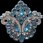 Vintage Aqua Rhinestone Large Brooch Pin