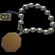 Vintage Coro Pegasus Bracelet Orignal Hang Tag Big Charm Faux Pearls