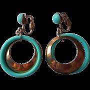 Mod 1960s Aqua Dangle Earrings Vintage Clip