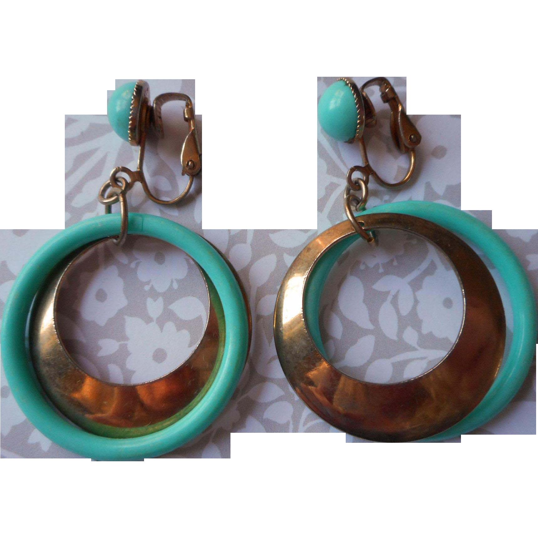 mod 1960s aqua dangle earrings vintage clip from
