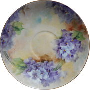Antique Hand Painted China Saucer African Violets