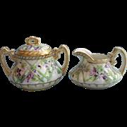 Antique Hand Painted Nippon Era China Violets Creamer Sugar Bowl