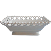 Atterbury Milk Glass Antique Lace Rim Base Dish Rectangular TLC