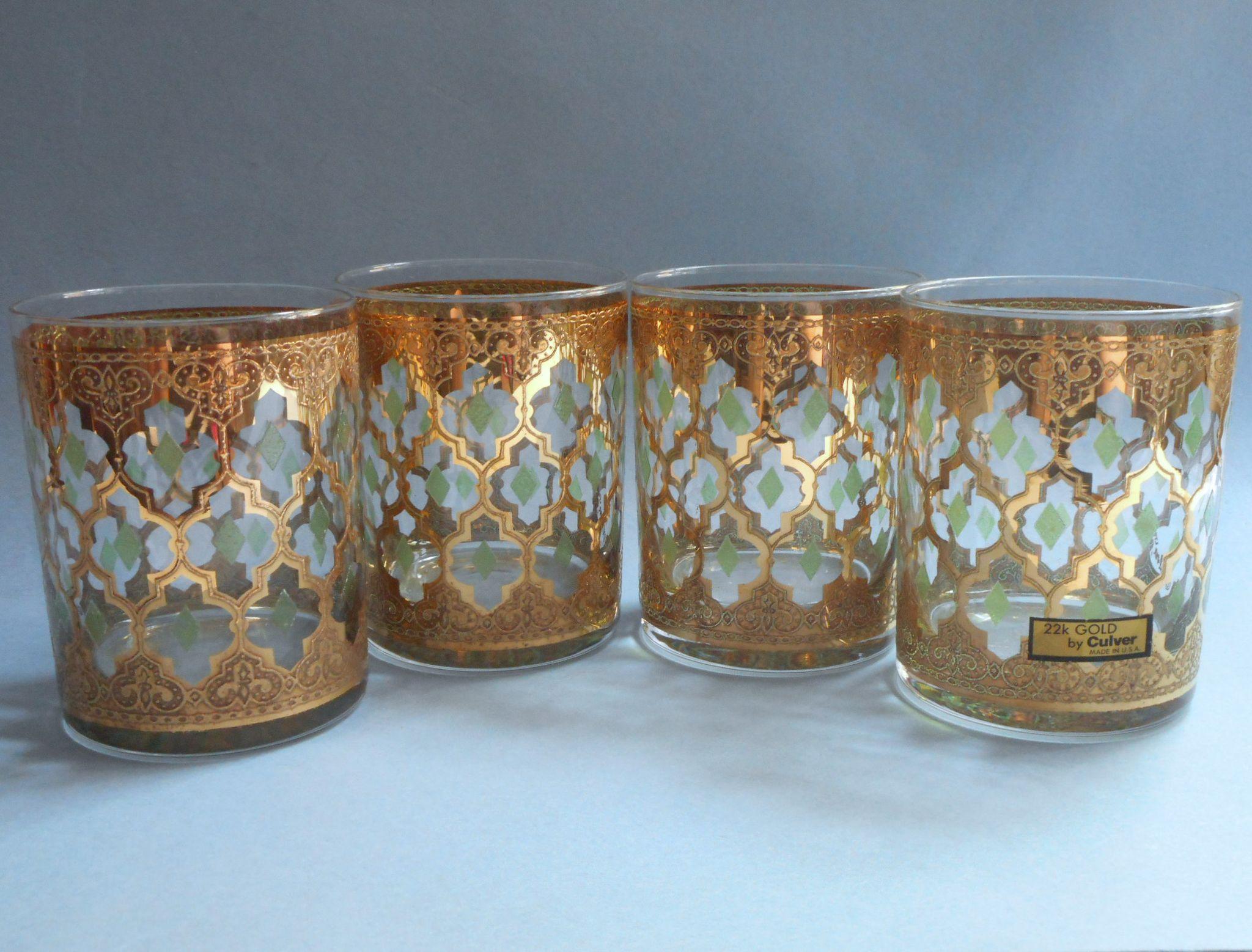 Culver valencia set 4 unused vintage glasses double old - Vintage valencia ...