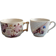 Antique Friendship Cups 2 Hand Painted China Pink Magenta Think Of Me