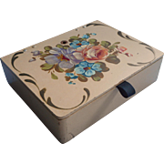 Hand Painted Wooden Box Vintage Sewing Shabby But Charming