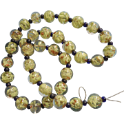 Vintage Murano or Venetian Glass Beads Mint Green Gold In Clear For Necklace