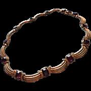 Vintage 1950s Crown Trifari Necklace Faux Amethyst Stones
