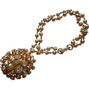Vintage 1960s Kramer Bracelet Faux pearls Cage Ball Big Charm