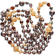 Vintage 1960s Long Beads Necklace Sugared Faux Pearls Crystal