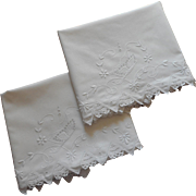 1920s Pillowcases Hand Embroidery Cutwork Crocheted Lace Cotton