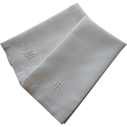 Monogram M Antique Towels Linen Damask Pair