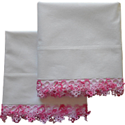 Pink Tatted Lace Vintage Pillowcases Pair Cotton