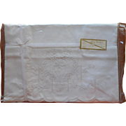 Vintage Pillowcases Original Packaging Embroidered Cotton White On White