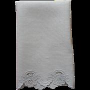 1920s Hand Towel Vintage Cutwork Embroidery Linen Unused