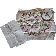 Vintage Hand Embroidery Motto To Complete Linen Pink Green Friendship