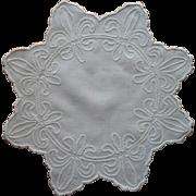 Antique Fleur De Lis Centerpiece 1910s Doily Ric Rac Hand Embroidery