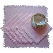 Pink Linen Napkins Fringed Luncheon Vintage Midcentury