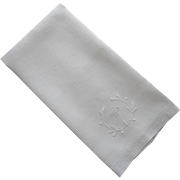 Monogram W Antique 1910s Linen Towel