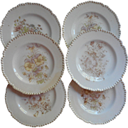 Antique Dessert Tea Plates China Set 6 Some Issues