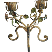 Chippy Tole Candle Holder Vintage Italy Metal Flowers Leaves 2 Candlestick