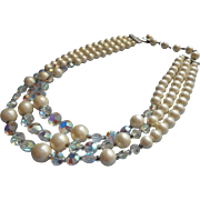 Vintage 3 Strand Necklace Faux Pearl Beads AB Crystal