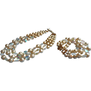 Vintage 1950s to 60s Marvella Necklace Bracelet Faux Pearl Crackle AB Glass TLC