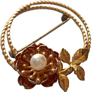 Rose Gold Filled Cultured Pearl Pin Krementz Wild Rose