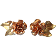 Rose Gold Filled Vintage Earrings Krementz Figural Roses Screw Back
