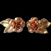 Rose Gold Filled Vintage Earrings Krementz Figural Roses Screw Back
