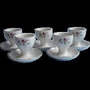 Egg Cups Porcelain Vintage Kaiser Fluted Romantica Floral China Set 5