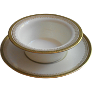 French Limoges Ramekin Greek Key Antique China Cup Under Plate