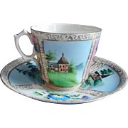 Victorian Cup Saucer Hand Painted China 4 Panel Scenic