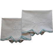 Vintage Pillowcases Butterflies Embroidery Blue Crocheted Lace Trim