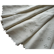 Antique Round Tablecloth Linen Cutwork Embroidery Pale Natural Color 70 Inches