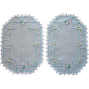 Aqua Hand Embroidery Pair Vanity Doilies Vintage 1920s